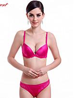 Closecret Women's Deep V Glossy Push Up Bra Brief Set with Lace