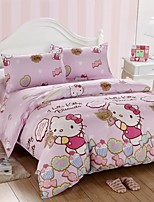 Lovely Pink Kitty Cotton Bedding Set of 4pcs Queen Size