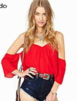 Women's Solid Multi-color Blouse , V Neck ½ Length Sleeve Backless