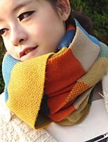 Women Chromatic Stripe Knitting Scarf Rainbow Color Matching Scarf