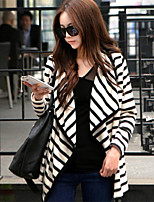 Women's Striped White Coat , Casual Long Sleeve Cotton Blends