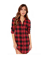 Women's Plaid Red/Black Shirt , Shirt Collar Long Sleeve Button
