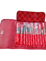 12 pcs High-end Goat Weasel Hair Makeup Brush Set with Leather Case