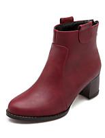 Chaussures Femme - Habillé / Décontracté - Noir / Marron / Bordeaux - Gros Talon - Bout Arrondi / Bottes à la Mode - Bottes - Similicuir