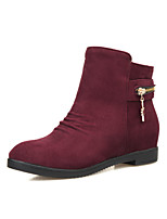 Women's Shoes Fleece Wedge Heel Wedges/Fashion Boots/Round Toe Boots Dress Black/Red/Navy