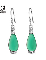 S925 Sterling Silver Plating Platinum Diamond Green Agate Pendant Earrings R030