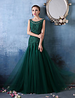 Formal Evening Dress - Dark Green Trumpet/Mermaid Scoop Floor-length Lace/Tulle