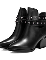 Women's Shoes Leather Chunky Heel Fashion Boots/Pointed Toe Boots Outdoor/Casual Black