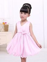 A-linja Satiini/Tylli Flower Girl Dress - Hihaton - Polven alle