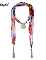 D Exceed Alloy Butterfly Pendant Scarf for Lady Colorful Sky Stars Print Jewelry Scarves with Tassles