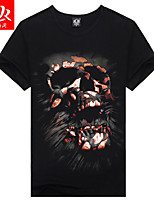 Men's Summer fashion Casual Print Short Sleeve 3D Regular T-Shirt (Cotton/Lycra)
