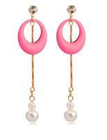 18K Gold Plated Earrings Women's Elegant Pearl Pendant Earrings TP0119
