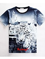 Men's High Quality Creative Animal Lovely Original Summer Breathable 3D Style T-Shirt——White Tiger