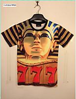 Men's 3D Golden Egypt Print Egyptian King Pharaoh Round Top T-shirt Shirt Blouse