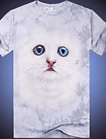 3D Printing Round Neck Short-sleeve Kitten T-Shirt (Cotton)