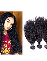 3pcs / lot rizado rizado virginal del pelo afro rizado pelo rizado # 1b 300g del pelo humano brasileño teje la extensión del pelo