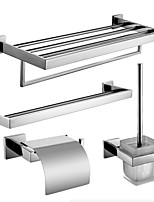Sets d'accessoire de salle de bain/Barre porte-serviette/Porte-rouleau WC/Porte-brosse WC/Sèche-serviette - Contemporain - Miroir Poli -
