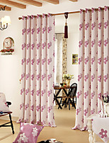 (One Panel) Country Jacquard Pink Flowers Linen Room Darkening Curtain