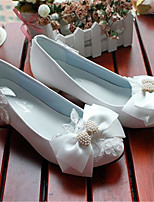 Women's Shoes Leather Low Heel Heels/Pointed Toe Pumps/Heels Wedding/Party & Evening White