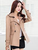 Women's Casual Work Medium Long Sleeve Regular Trench Coat (Polyester)
