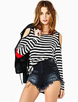 Women's Sexy/Casual Inelastic Long Sleeve Regular T-shirt (Cotton Blends)