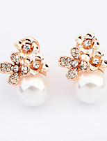 Women's European Style Fashion Flower  Imitation Pearl Stud Earrings