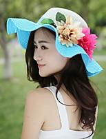 Women Casual Summer Linen/Straw Wave Style Straw Hat with Floral