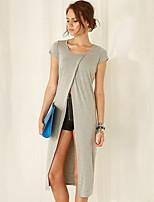 Women's Solid Gray T-shirt , Round Neck Short Sleeve Split