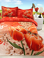Red Polyester/Poly/Cotton King Duvet Cover Sets