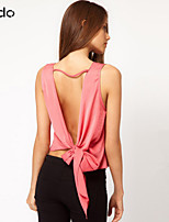 Women's Solid Red/Black Vest Sleeveless Hollow Out/Backless