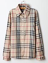 De las mujeres Camisa Cuello Camisero - Algodón - Manga Larga