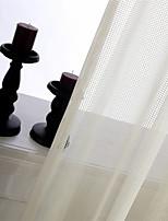 One Panel Ivory Plaid/Check  Jacquard Sheer