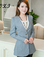 Women's Striped/Solid Gray Blazer , Sexy/Casual/Cute/Party/Work V Neck Long Sleeve