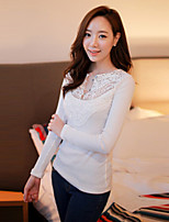 Women's Sexy/Casual Lace Long Sleeve Regular T-shirt (Cotton/Spandex)