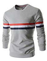 Men's Casual/Plus Sizes Striped Long Sleeve Regular T-Shirt (Cotton)