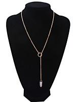 Women's European Style Fashion Simple Bullet Imitation Powder Crystal Alloy Resin Necklace