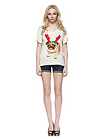 Women's Character Beige T-shirt , Round Neck Short Sleeve
