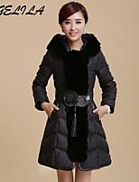Women's Casual Big Fur Collar Plus Size Thick Long Sleeve Regular White Duck Down Coat