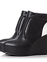 Women's Shoes Leather Wedge Heel Wedges Boots Outdoor/Casual Black