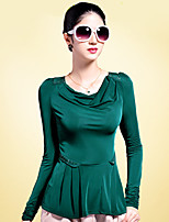 Women's Solid Black/Green/Yellow Blouse , Round Neck Long Sleeve Beaded/Ruched/Ruffle