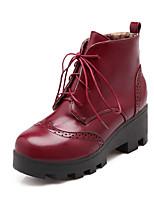 Zapatos de mujer - Tacón Robusto - Punta Redonda / Botas a la Moda - Botas - Vestido / Casual - Semicuero - Negro / Marrón / Rojo