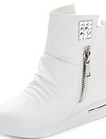 Zapatos de mujer - Tacón Kitten - Punta Redonda - Sneakers a la Moda - Casual - Sintético - Negro / Blanco