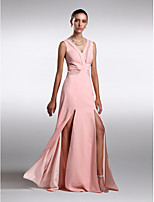 Formal Evening Dress - Pearl Pink Sheath/Column V-neck Sweep/Brush Train Chiffon