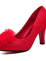 Women's Shoes Tulle Stiletto Heel Heels/Round Toe Pumps/Heels Wedding Red