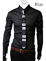 Men's Casual/Work/Formal/Plus Sizes Print/Striped/Plaids & Checks Long Sleeve Bussiness/Dress Shirt (Cotton Blend)