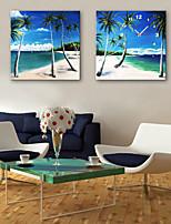 E-HOME® Coconut Beach Clock in Canvas 2pcs