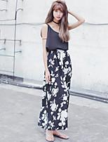 Women's Print Black Skirts , Print/Maxi Knee-length Split