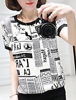 Women's Casual/Print Micro-elastic Short Sleeve Regular T-shirt (Chiffon)