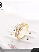 Sjeweler Girls Engagement 24K Gold Plated Zircon Ring