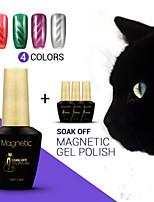 Azure 4Pcs/Lot  Magnetic 3D Cat Eyes Nail Gel Magnetic Gel Nail Polish Soak Off UV Gel Nails Art(#59+#60+#61+#72)